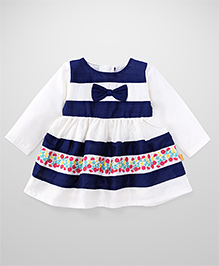 Yellow Duck Full Sleeves Frock Stripes Pattern - White And Navy