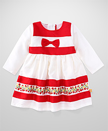 Yellow Duck Full Sleeves Frock Stripes Pattern - White And Red