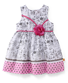 Yellow Duck Sleeveless Printed Frock With Floral Applique - Pink Off White