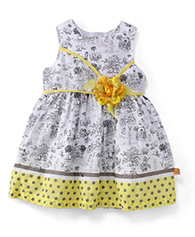Yellow Duck Sleeveless Printed Frock With Floral Applique - Lemon Off White