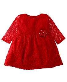 Yellow Duck Full Sleeves Net Floral Design Party Frock - Red