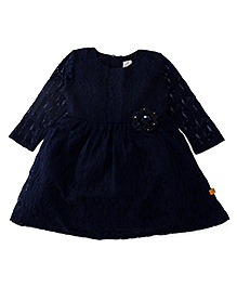 Yellow Duck Full Sleeves Net Floral Design Party Frock - Navy