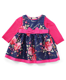 Yellow Duck Long Sleeves Frock Floral Print - Navy And Fuchsia