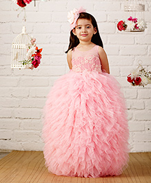 PinkCow Sequenced Ruffle Gown - Baby Pink