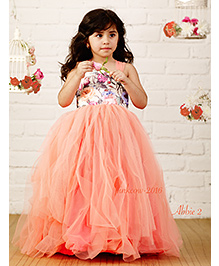 PinkCow Netted Ruffle Gown - Peach