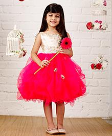 PinkCow Sequenced Rose Dress - Golden & Hot Pink
