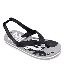 Fox Baby Flip Flops Mickey Mouse Print With Strap - Black