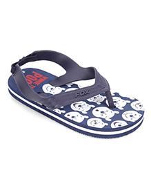 Fox Baby Flip Flops Winnie The Pooh Print With Strap - Navy Blue