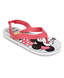 Fox Baby Flip Flops Mickey Mouse Print With Strap - Red