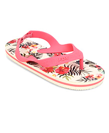 Fox Baby Flip Flops Floral Print With Strap - Neon Coral