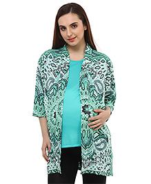 Oxolloxo Full Sleeves Paisley Print Maternity Shrug - Green