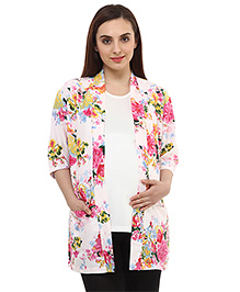 Oxolloxo Full Sleeves Stylish Floral Print Maternity Shrug - White