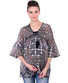 Oxolloxo Angel Sleeves Maternity Tie Up Printed Top - Black Beige White
