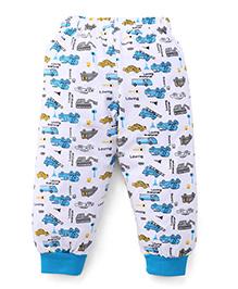 Babyhug Full Length Car Print Leggings - White Blue