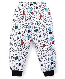 Babyhug Full Length Alphabet Print Leggings - White