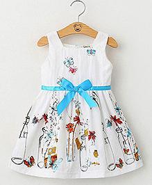 Pre Order - Lil Mantra Bottle Print Girls Dress - White
