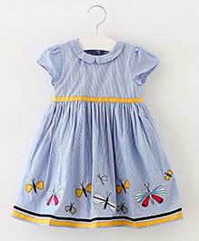 Pre Order - Lil Mantra Butterfly Print Girls Dress - Blue