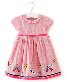 Lil Mantra Butterfly Print Girls Dress - Pink