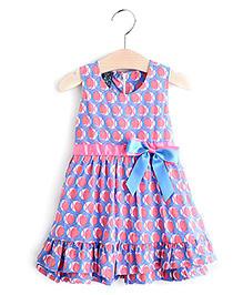 Pre Order - Lil Mantra Circle Print Girls Dress - Blue