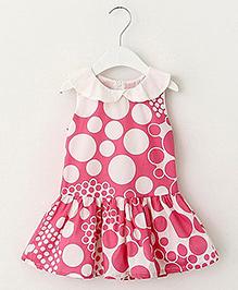 Pre Order - Lil Mantra Dot Print Girls Dress - Pink