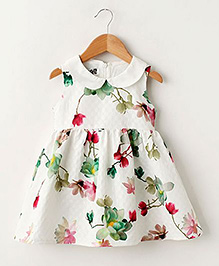 Pre Order - Lil Mantra Floral Girls Dress - White