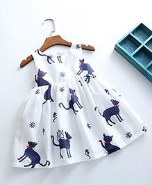 Lil Mantra Cat Print Dress - Navy Blue