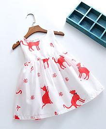 Pre Order - Lil Mantra Cat Print Dress - Pink