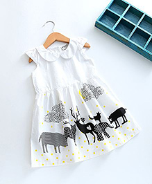 Pre Order - Lil Mantra Animal Print Dress - White