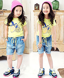 Pre Order - Lil Mantra Printed T-Shirt & Shorts Set - Yellow & Blue