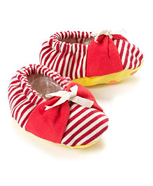Pranava Organic Cotton Stripes Booties  -  Red