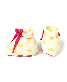 Pranava Organic Cotton Polka Print Booties  -  Yellow