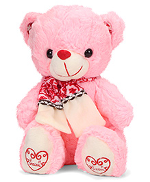 Dimpy Stuff Teddy Bear With Scarf Pink - 30 Cm
