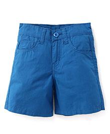 Babyhug Solid Color Five Pocket Shorts - Blue