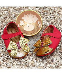 D'chica Early Walker Shoes For Girls - Pink & Golden