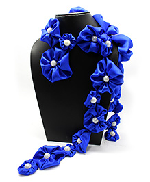 Eternz Haedos Collection Flower Scarf - Royal Blue