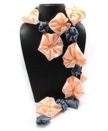 Eternz Haedos Collection Flower Scarf - Peach & Blue