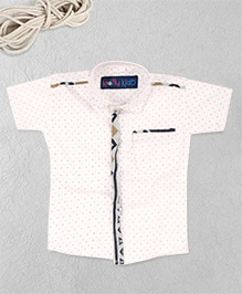 Knotty Kids Trendy Half Sleeve Printed Shirt - White