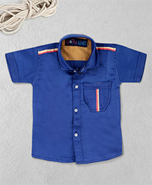 Knotty Kids Plain Half Sleeve Shirt - Blue
