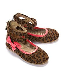 LCL Ankle Shoes Bow Applique - Brown Peach