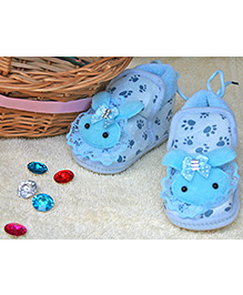 Little Bunnies Lace Design Infant Booties - Blue