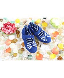 LCL Party Wear Belly Shoes Bow Applique - Blue