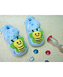 Little Bunnies Butterfly Design Infant Booties - Blue