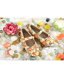 LCL Party Wear Belly Shoes Bow Applique - Yellow