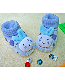 Little Bunnies Bunny Face With Socks Infant Booties - Blue