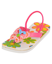 LCL Flip Flops With Back Strap Butterfly Applique - Pink White