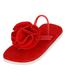 LCL Flip Flops With Back Strap Floral Applique - Red