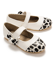 LCL Party Wear Belly Shoes Bow Applique - White