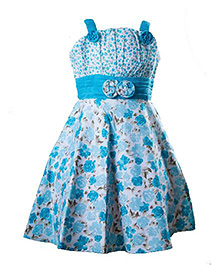 Whostiny Sleeveless Singlet Floral Printed Frock - Blue