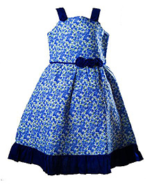 Whostiny Singlet Floral Printed Cotton Frock - Blue
