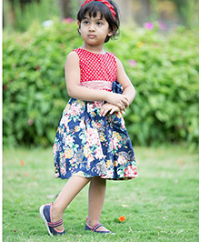 Whostiny Sleeveless Dress Floral Print - Red And Navy